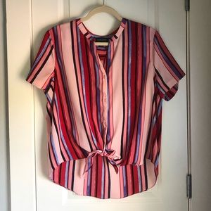 Cynthia Rowley Red Tie Front Top (L)